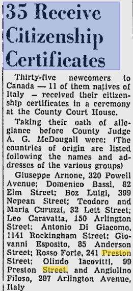 Canadian Citizenship for eleven Italians in Ottawa, Ontario, Canada in 1957