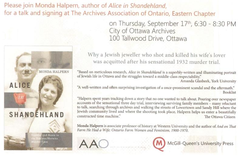 Book by Monda Halpern about Jewish History in Ottawa, Canada