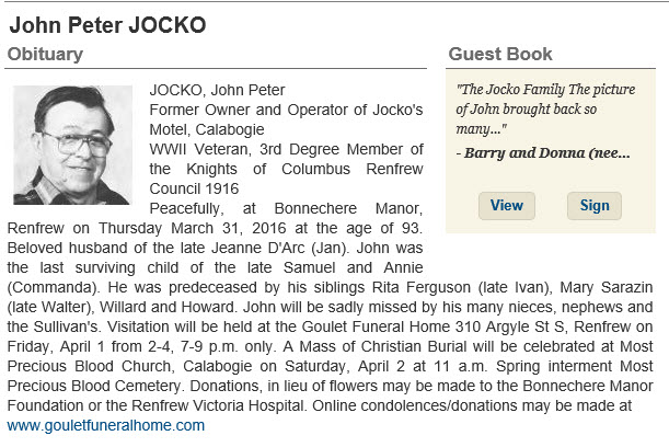 Obituary for Mr. John Jocko, Calabogie Lake, Renfrew County, Ontario, Canada