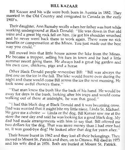 William Kazaar, trapper at Black Donald, Ontario, Canada