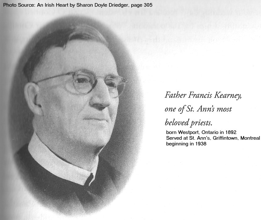 Father Francis Kearney, Westport, Ontario to St. Ann's, Griffintown (Montreal)
