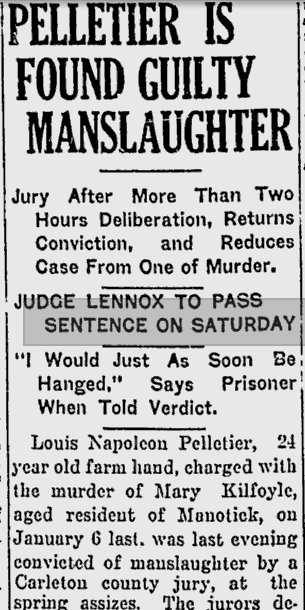 Murder Trial, Pelletier and Kilfoyle, 1926