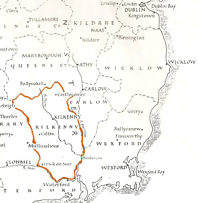 Map Showing County Kilkenny, Ireland, in 1848