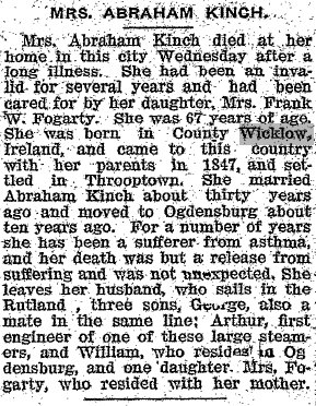 Obituary of Mrs. Abraham Kinch