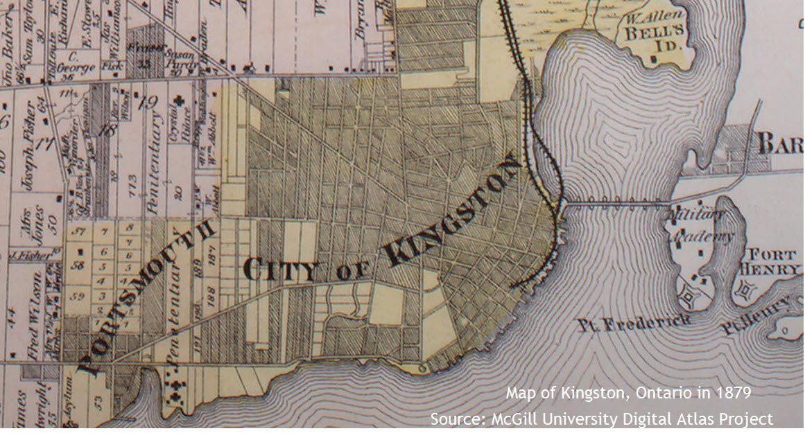 Map of Kingston, Ontario in 1879
