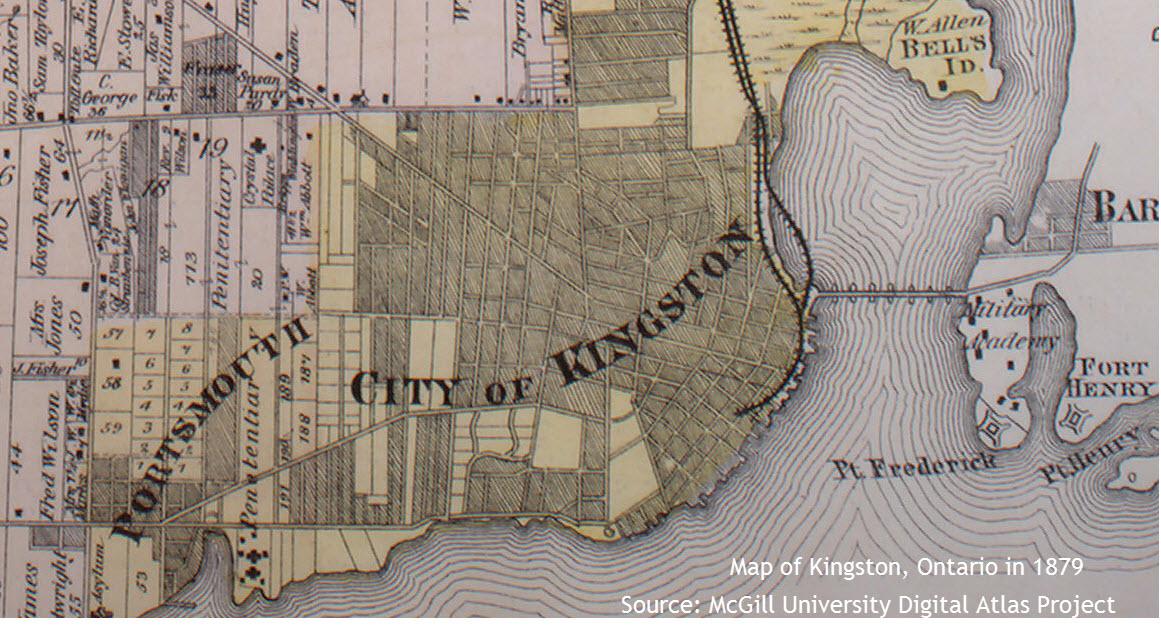 Map of Kingston, Ontario in 1879