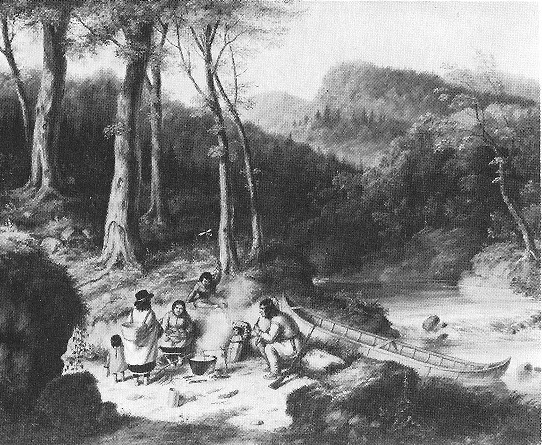 Cornelius Krieghoff painting Indian Encampment at a Portage, 1850
