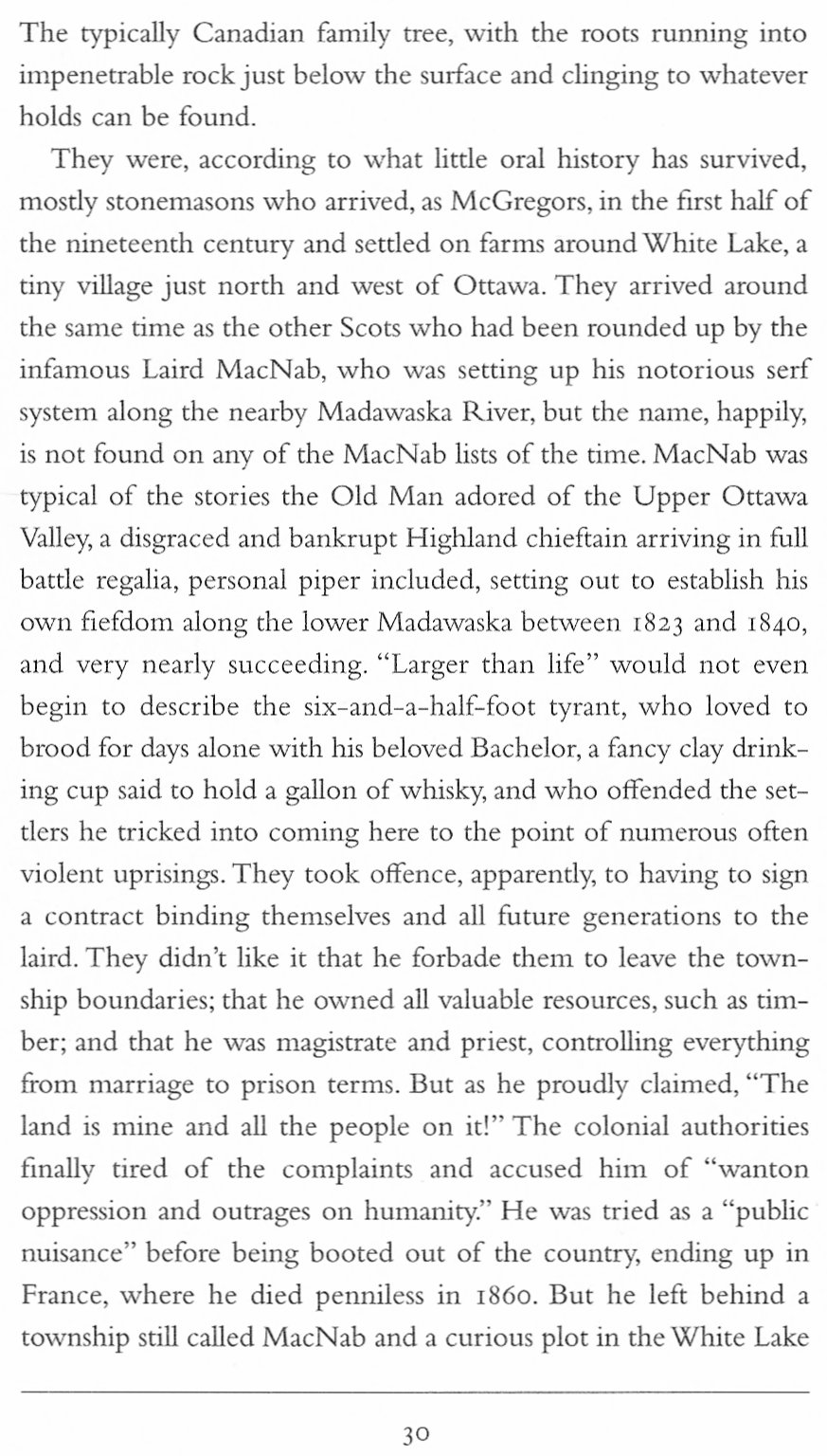 Laird of McNab Township from Roy MacGregor's Book