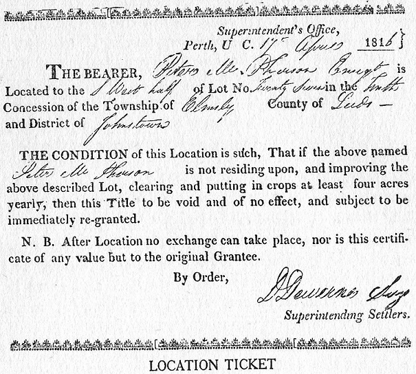 Specific Land Grant Location Ticket, 1816