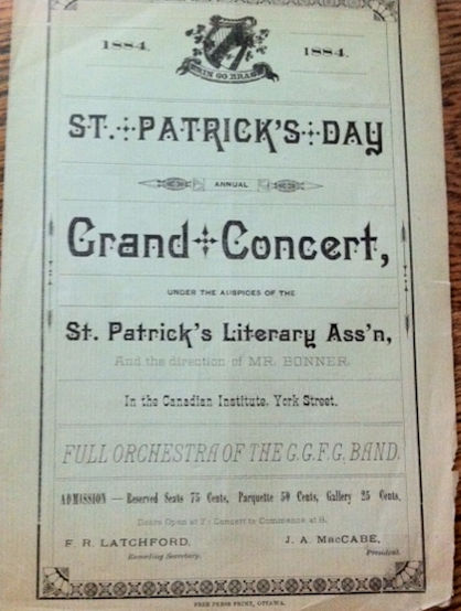 Francis Latchford, card from St. Patrick's, Toronto