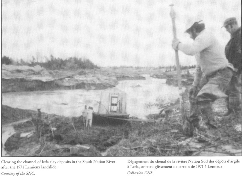 Photo of the 1971 clean-up of leda clay at Lemieux, Ontario