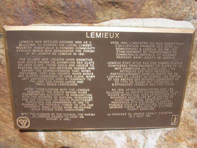 Lemieux, Ontario, Canada - Plaque