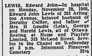 Obituary of Edward (Ned) Lewis in 1960