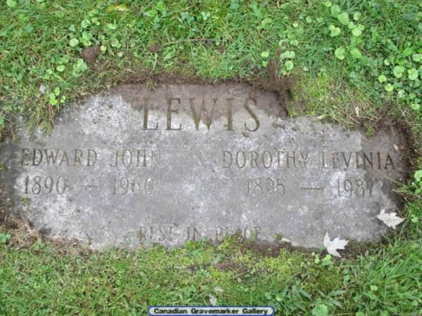 Grave Marker at Pinecrest Cemetery, Ottawa for Edward (Ned) Lewis in 1960, my Grandfather