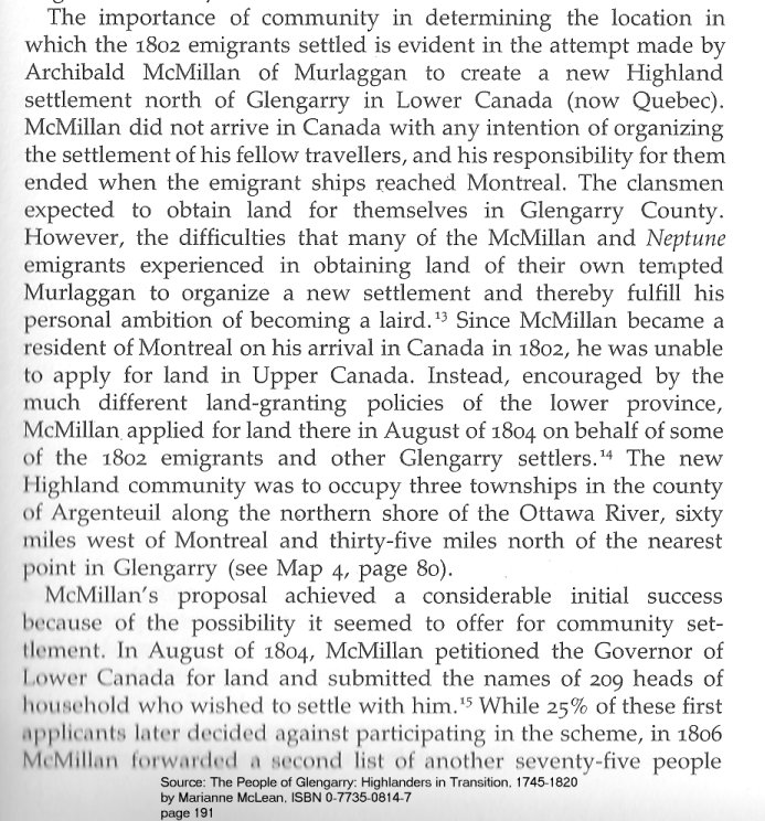 Scottish Migration to Lochaber Township, Argentuil County, Quebec, Canada