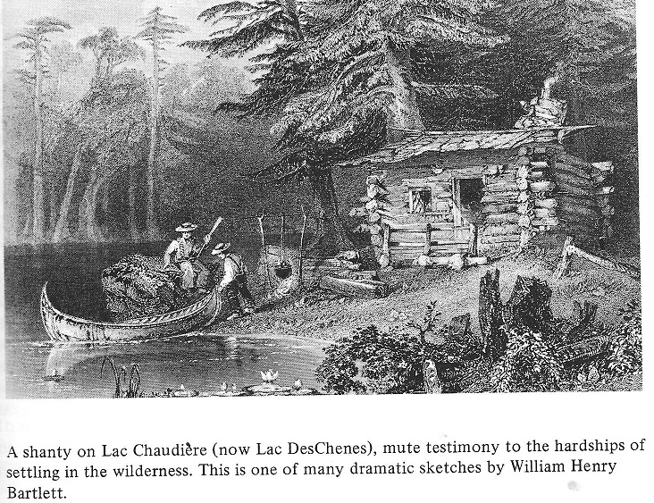 A log cabin on Lac Chaudiere (now Lac Deschenes)