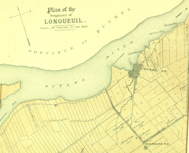 Map of the Seignory / Township of Longueiul, Canada, in 1879