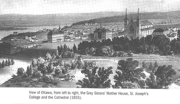 the Grey Nuns, Notre Dame Cathedral and St. Josephs College, Ottawa, Ontario, Canada, in 1855