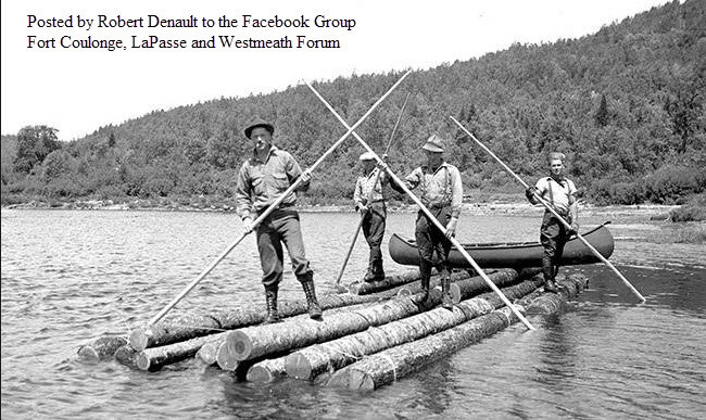 Lumber Raft with Canoe