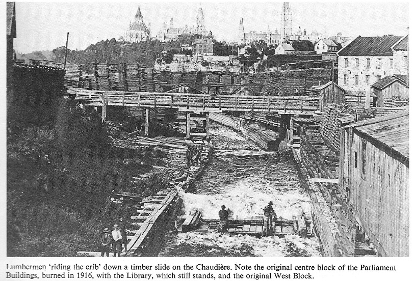 Lumbermen Riding a Crib at Chaudiere Falls