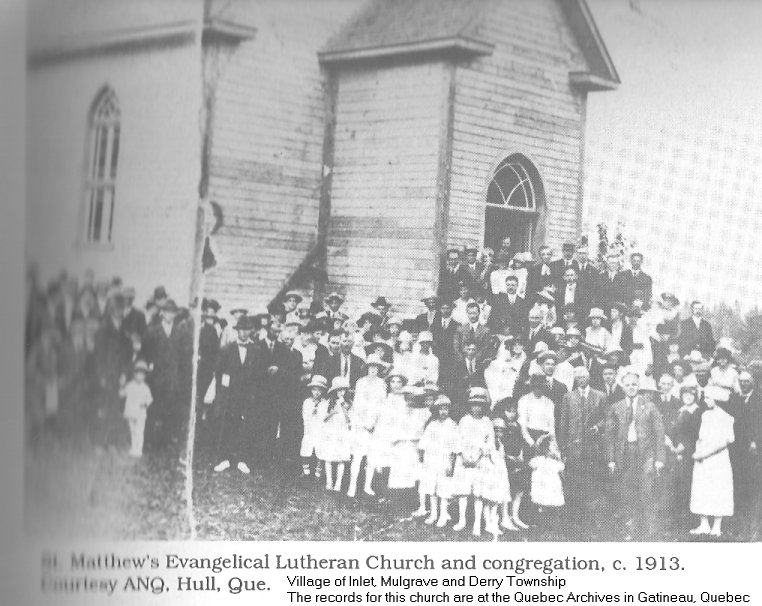 St. Matthew's Evangelical Lutheran Church at Mulgrave -Derry, Quebec. c. 1913