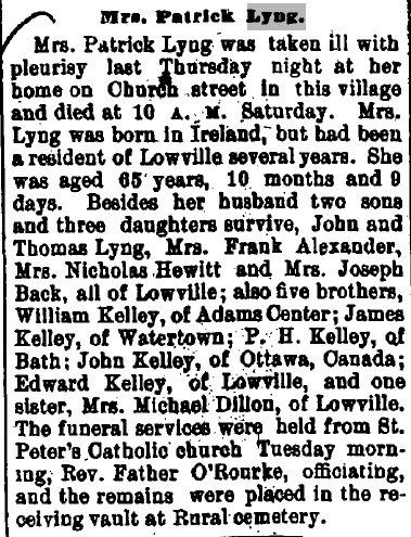 Obituary of Mrs. Patrick Lyng, Lowville, New York, USA