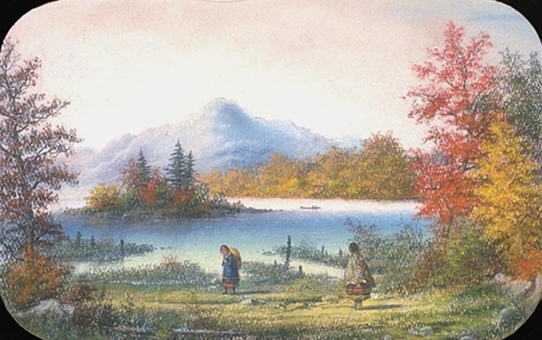 Painting of Madawaska Lake, Upper Canada, by A. W. Holdstock