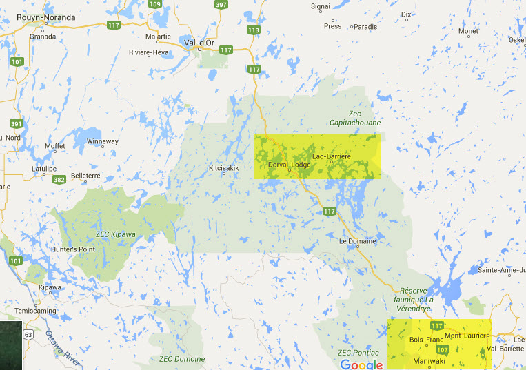 Map showing Barriere Lake, Quebec in relation to Maniwaki, Quebec