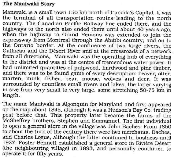 The Maniwaki Story from E.J. Boyle
