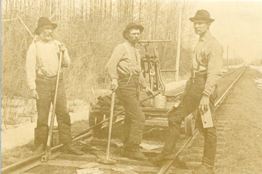 Pat Conlin, Robert Redmond and Paddy Conners, Manotick Station, c. 1916