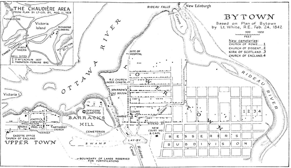 1842 map of Bytown