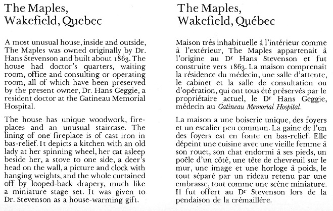 Maples House in Wakefield, Quebec, TEXT