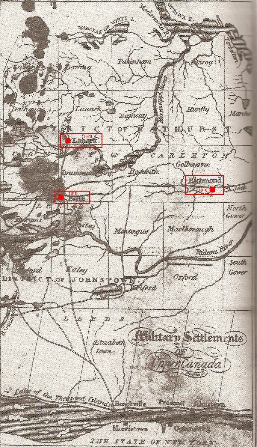 Map of Military Settlements in Upper Canada