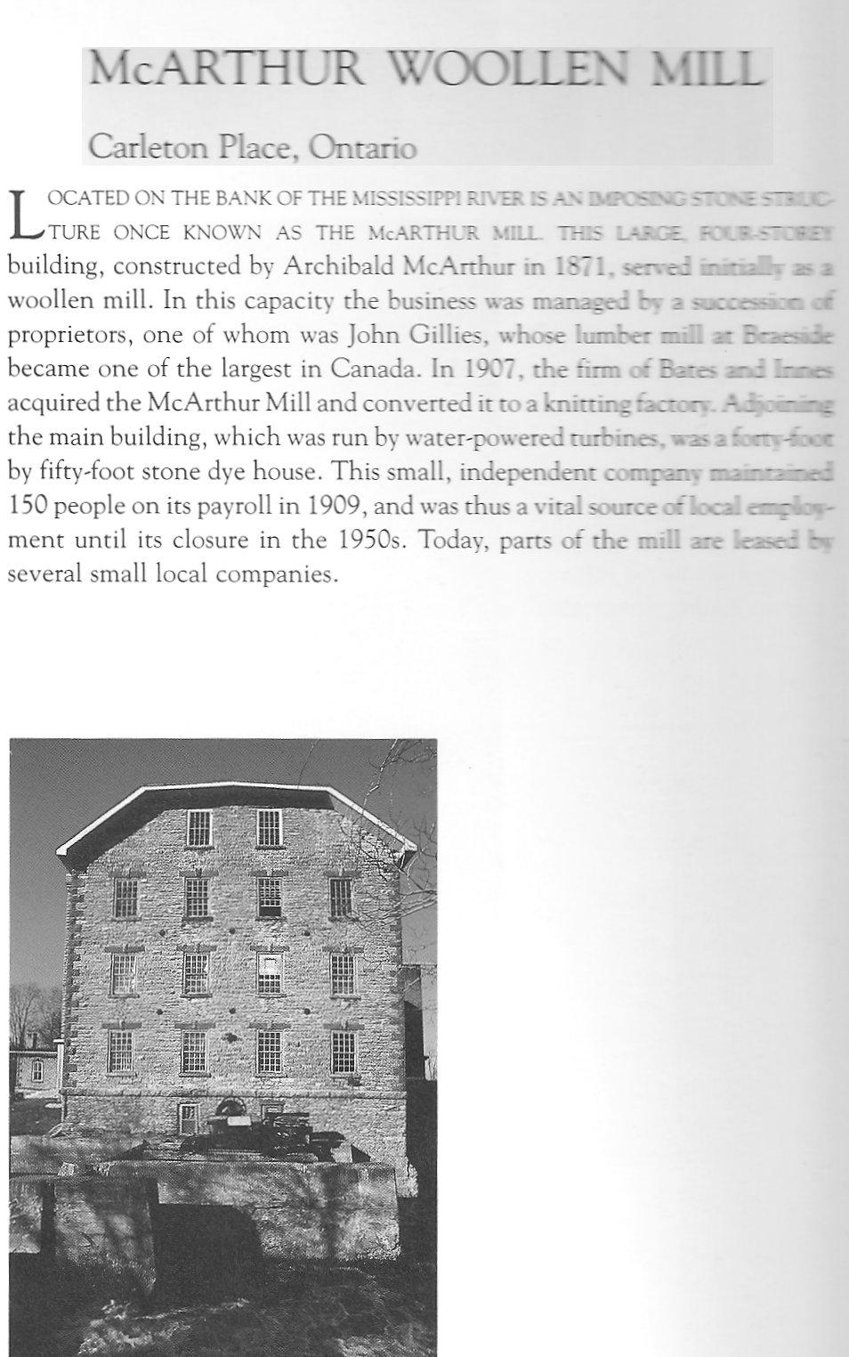 Archibald McArthur Woolen Mill in Carelton Place, Ontario, Canada