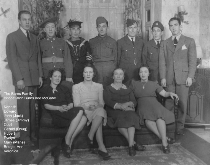 Larry Burns and Bridget McCabe's Family in WW2