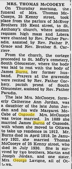 Obituary of Mrs. Thomas McCooeye