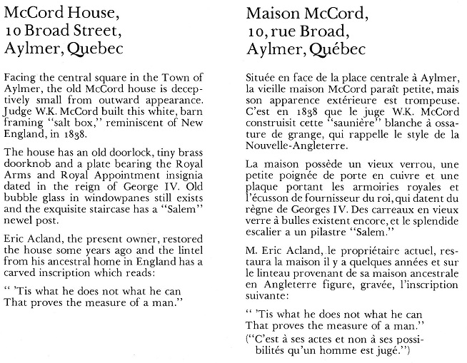 McCord House Aylmer scan text