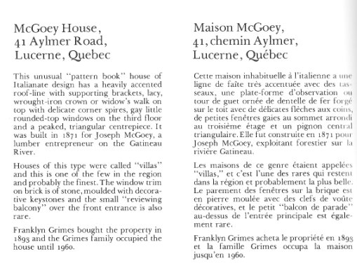 McGoey House, Aylmer, Quebec Canada - Text