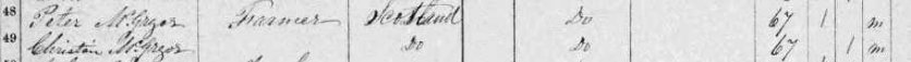 Peter McGregor, 1861 census for Ramsay Township, Ontario, Canada