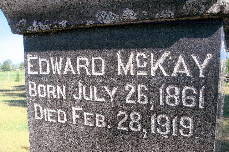 Edward McKay Grave Marker, Osgoode Township, Ontario, Canada