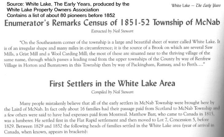 Pioneer Settlers in McNab Township, Ontario, Canada