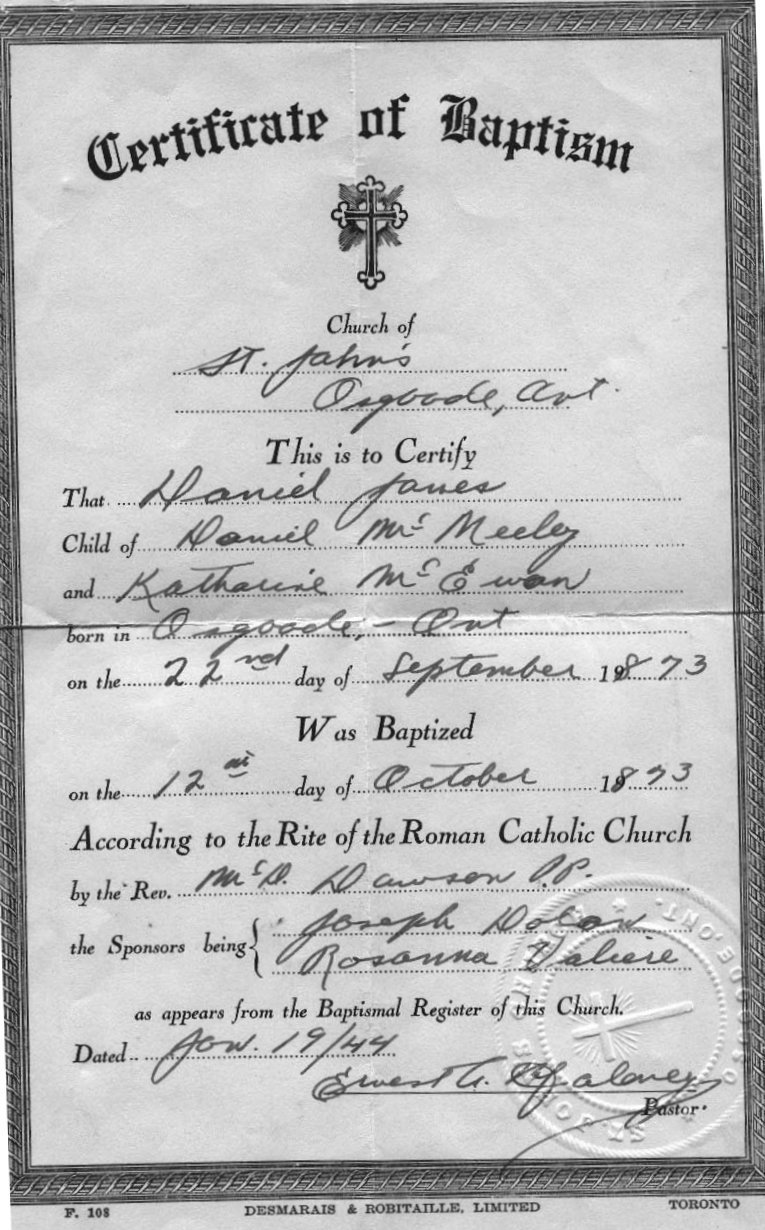 Baptism of Daniel James McNeely