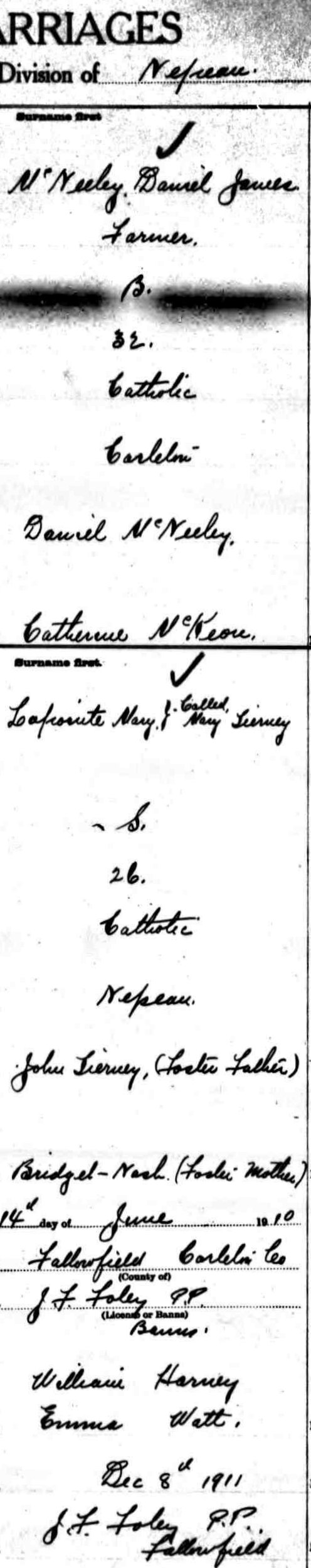 Marriage of Daniel McNeely and May Lapointe