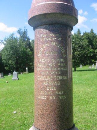Tombstone of Joseph McCrea Caroline Teresa Armand
