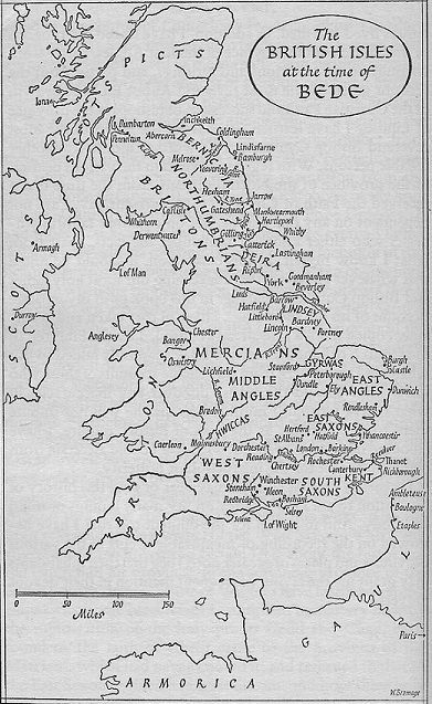 Map of England during the time Bede wrote his book
