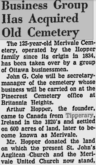 Merivale Cemetery, Ottawa, Ontario, Canada