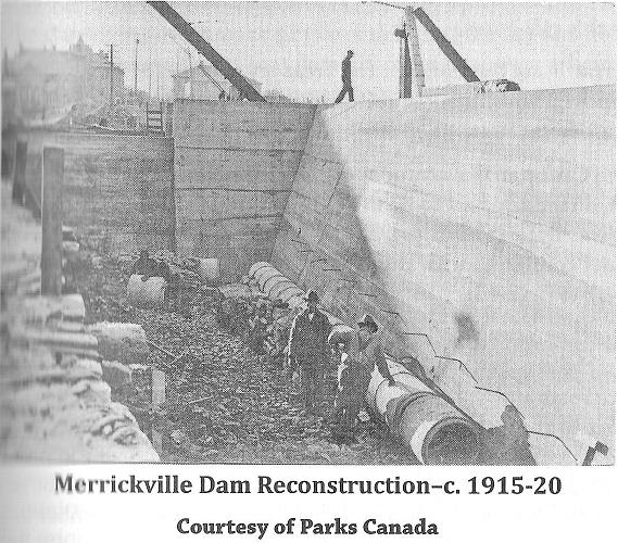Rebuilding the Dam in Merrickville, c. 1915