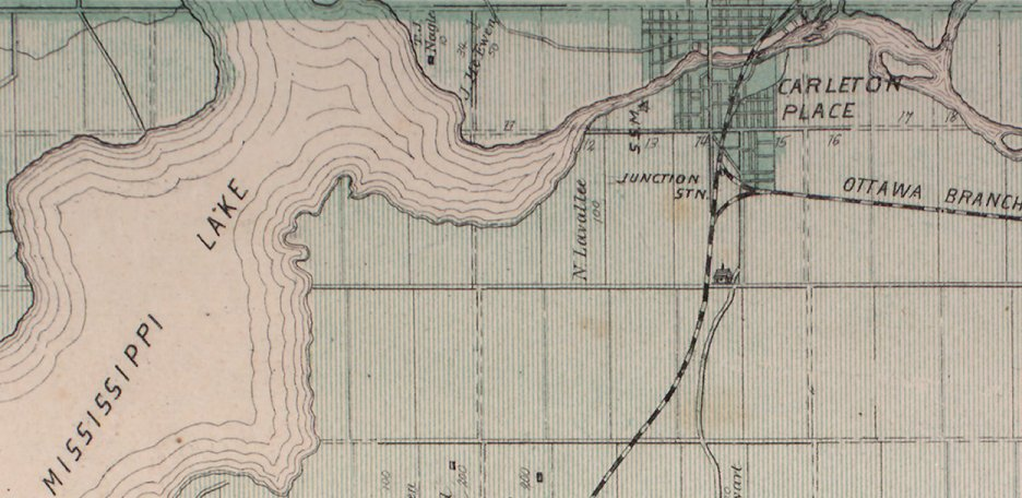 Mississippi Lake and Carleton Place, Ontario, Canada, 1879 map