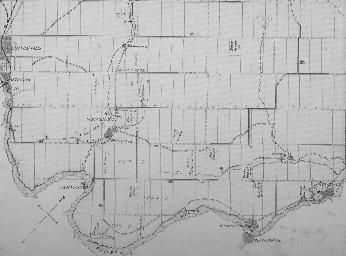 Map of Montague Township, Ontario, Canada, in 1879