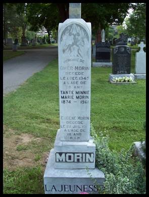Grave Marker for Minnie Marie Morin, Antoine Morin's Daughter